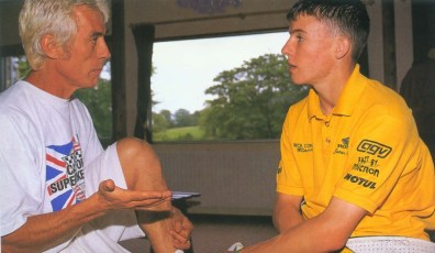Keith trains young James Toseland in 1997. Toseland later went on to win the World Superbike Championship.