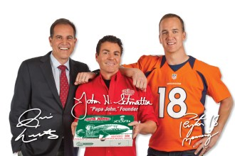 Papa Johns super bowl XLVII commercial coin toss with Peyton Manning