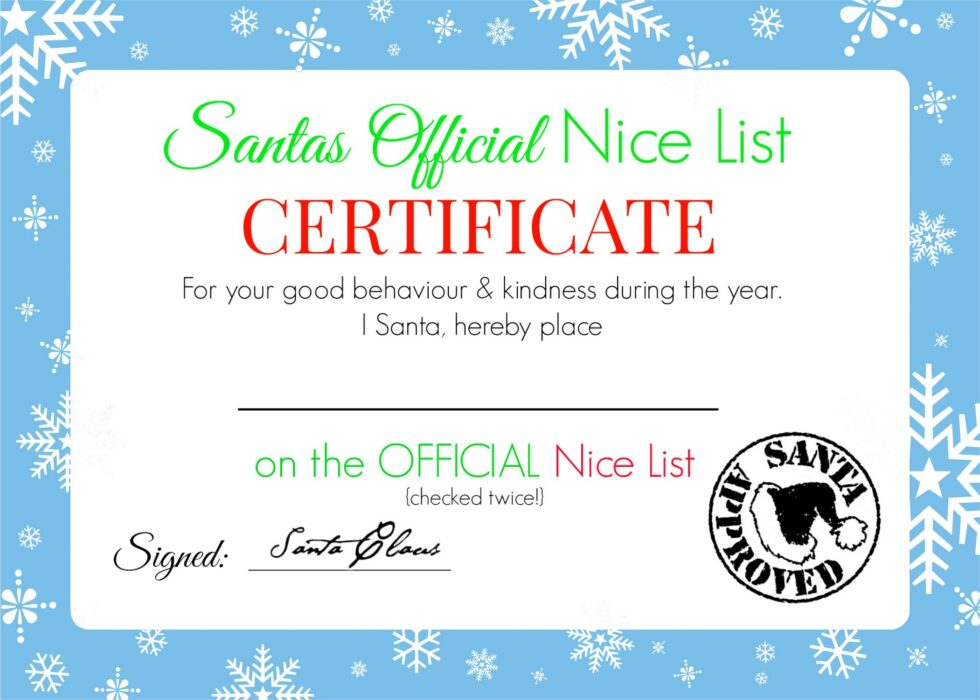 Christmas nice list certificate free printable super busy mum blue certificate green certificate red certificate yelopaper Gallery