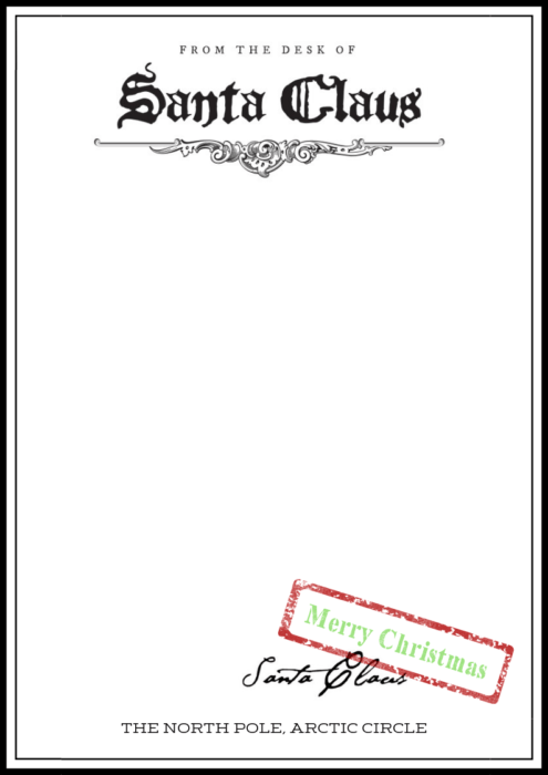 From-the-Desk-of-Santa-Claus-Blank-Letter-Template Elf On Shelf Arrival Letter Template Blank on am late, santa first time,