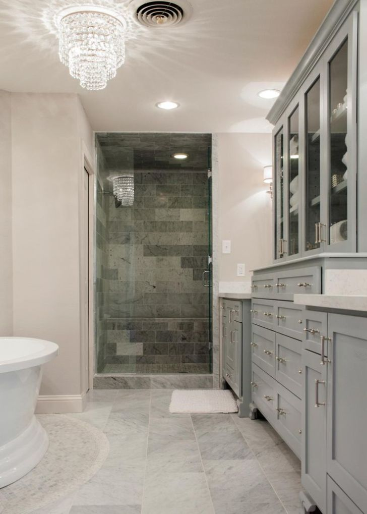 The new master bath adds a standup shower, pedestal tub, enclosed toilet room and an adjacent walk-in closet.