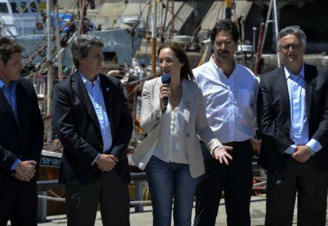 María Eugenia Vidal en el puerto de Mar del Plata. FOTO: DyN.