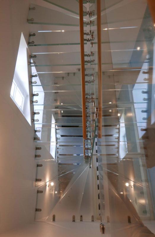 escalier, verre, réhabilitation, manoir