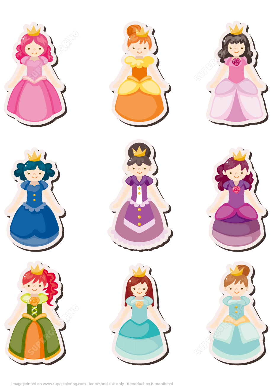 Printable Princess Pictures : printable, princess, pictures, Printable, Princess, Stickers, Girls, Papercraft, Templates