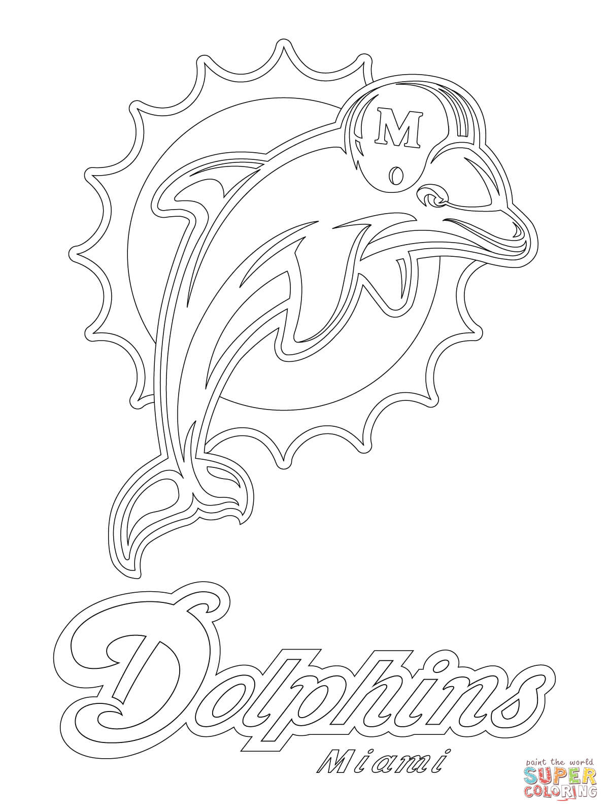 Miami Dolphins Logo Coloring Page  Free Printable Coloring Pages