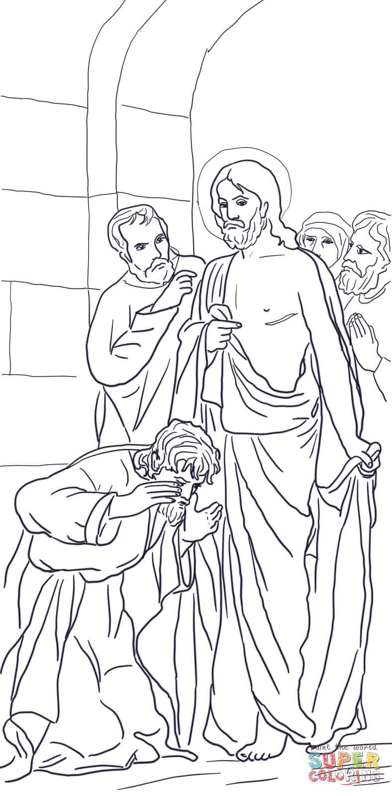 Doubting Thomas Coloring Page : doubting, thomas, coloring, Jesus, Appears, Thomas, Coloring, Printable, Pages