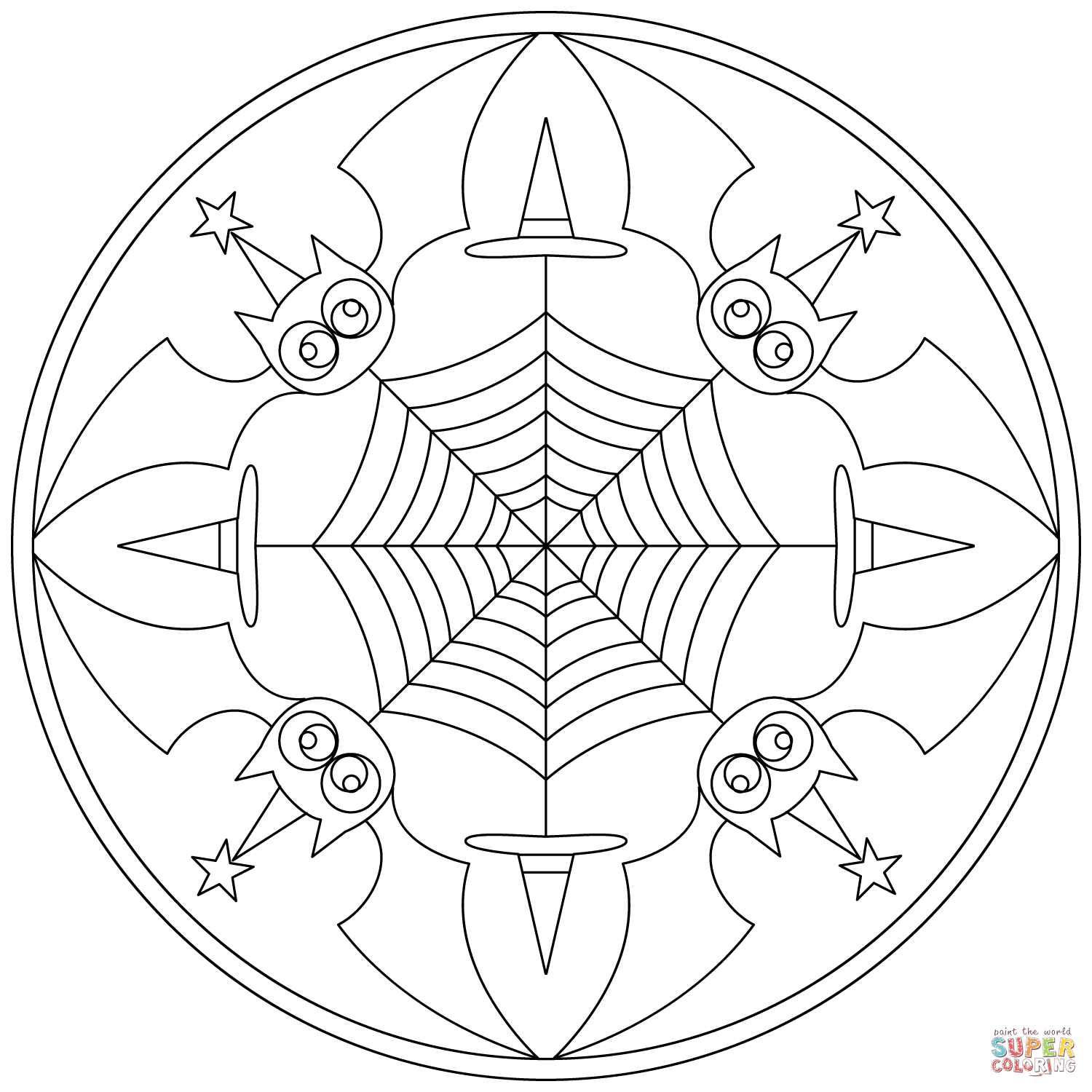 Halloween Mandala Coloring Page Halloween Zentangle Coloring Pages