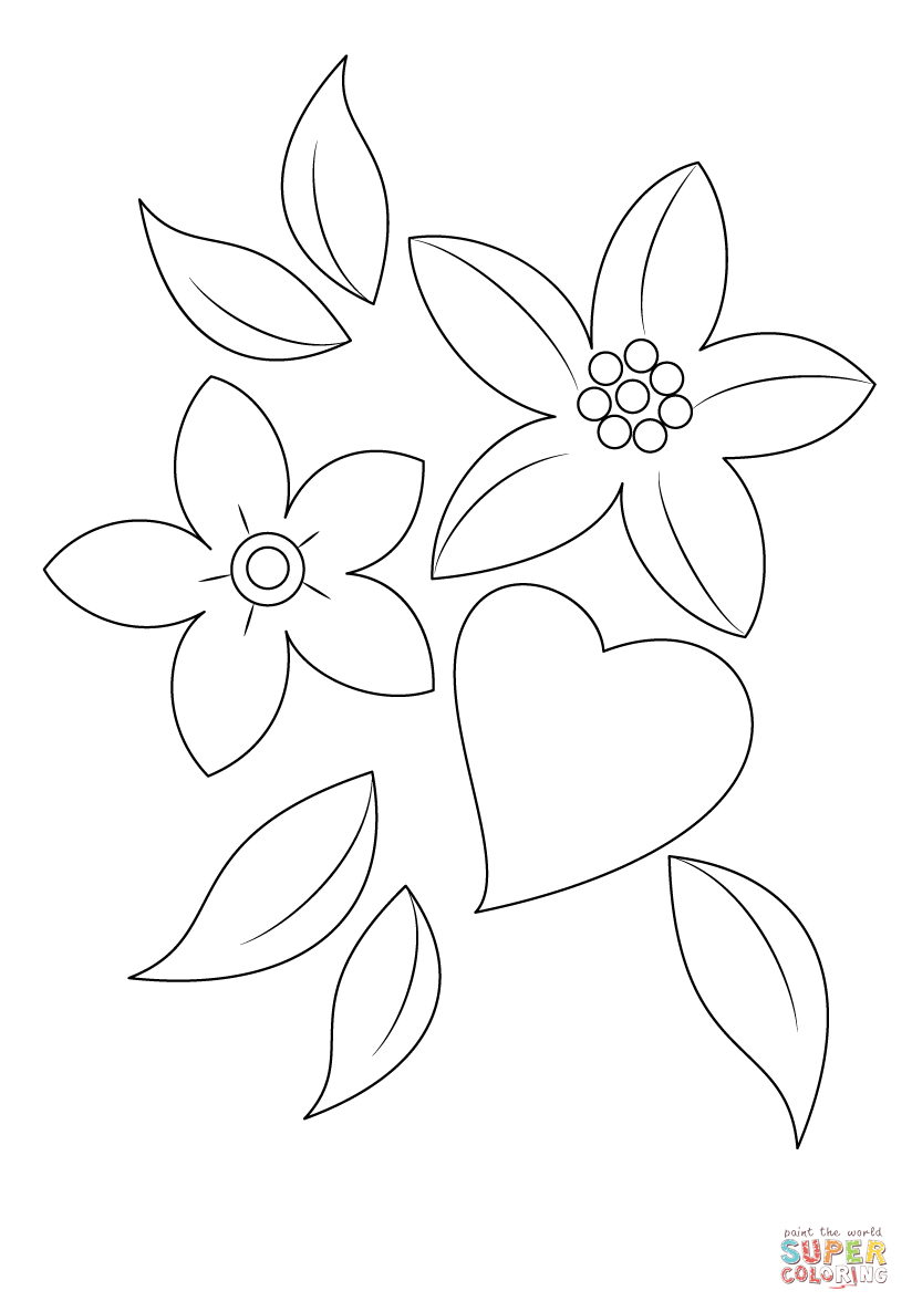 Coloring Pages Of Hearts And Flowers : coloring, pages, hearts, flowers, Heart, Flowers, Coloring, Printable, Pages