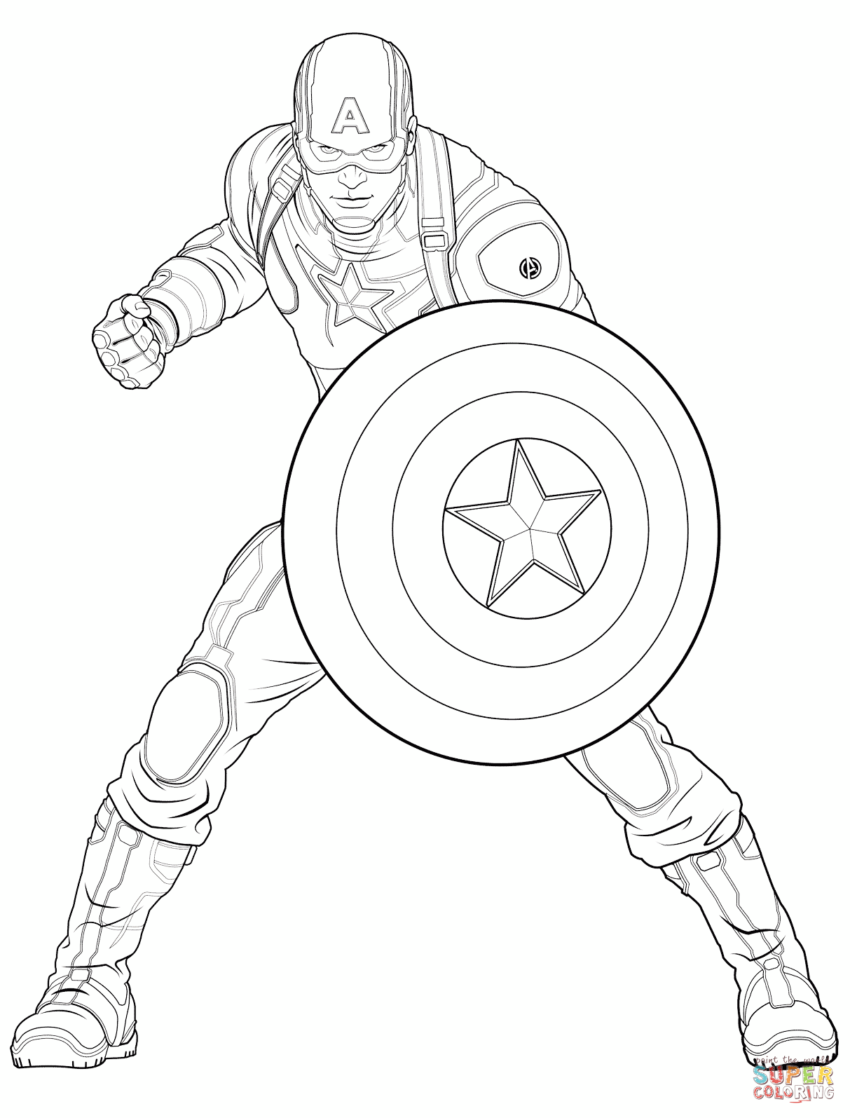 Captain America Coloring Page : captain, america, coloring, Avengers, Captain, America, Coloring, Printable, Pages