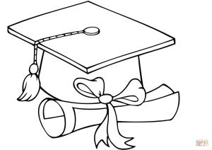 graduation cap coloring diploma graduate clipart pages colouring drawing printable cards college clip printables elegant templates hat caps crafts grad