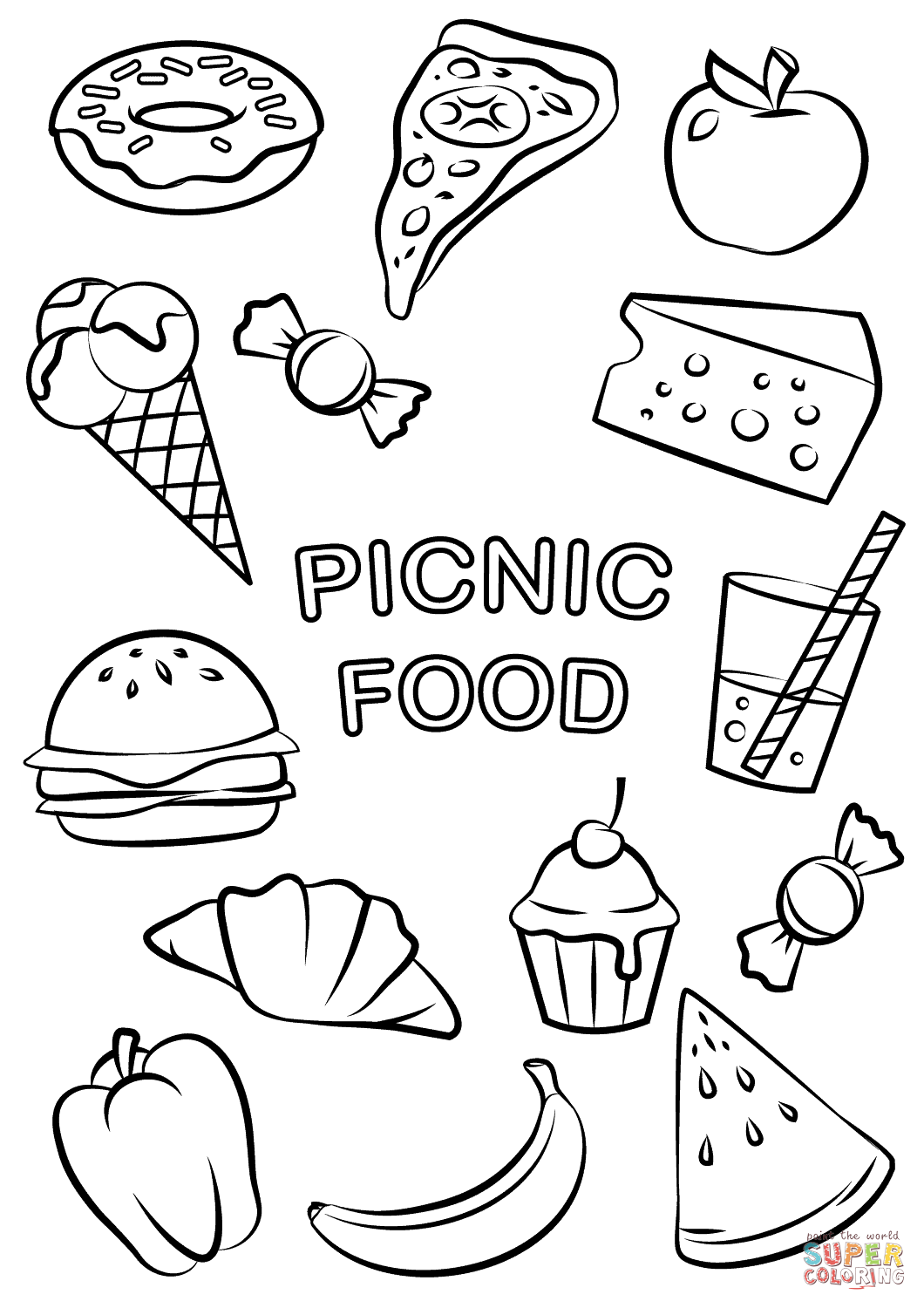 Fast Food Coloring Pages : coloring, pages, Picnic, Coloring, Printable, Pages