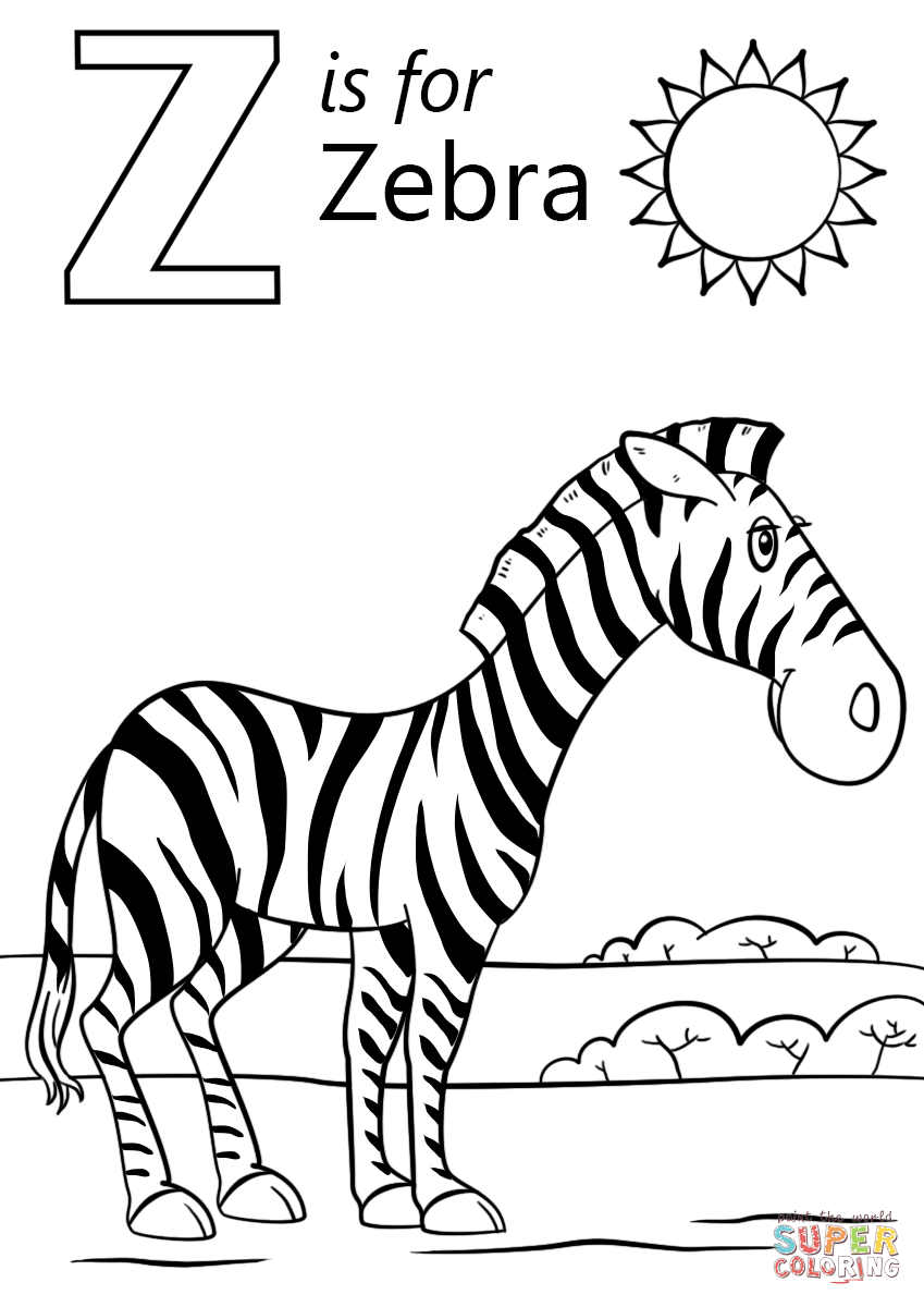 Zebra Coloring Sheet : zebra, coloring, sheet, Letter, Zebra, Coloring, Printable, Pages
