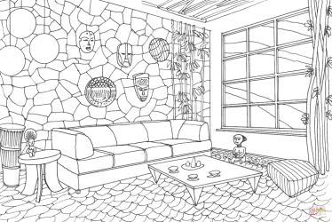 coloring room interior living african pages adult printable books print hawaii supercoloring template categories sketch game