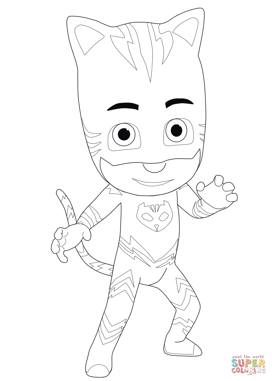 Pj Masks Coloring Pages Black And White : masks, coloring, pages, black, white, Catboy, Masks, Coloring, Printable, Pages