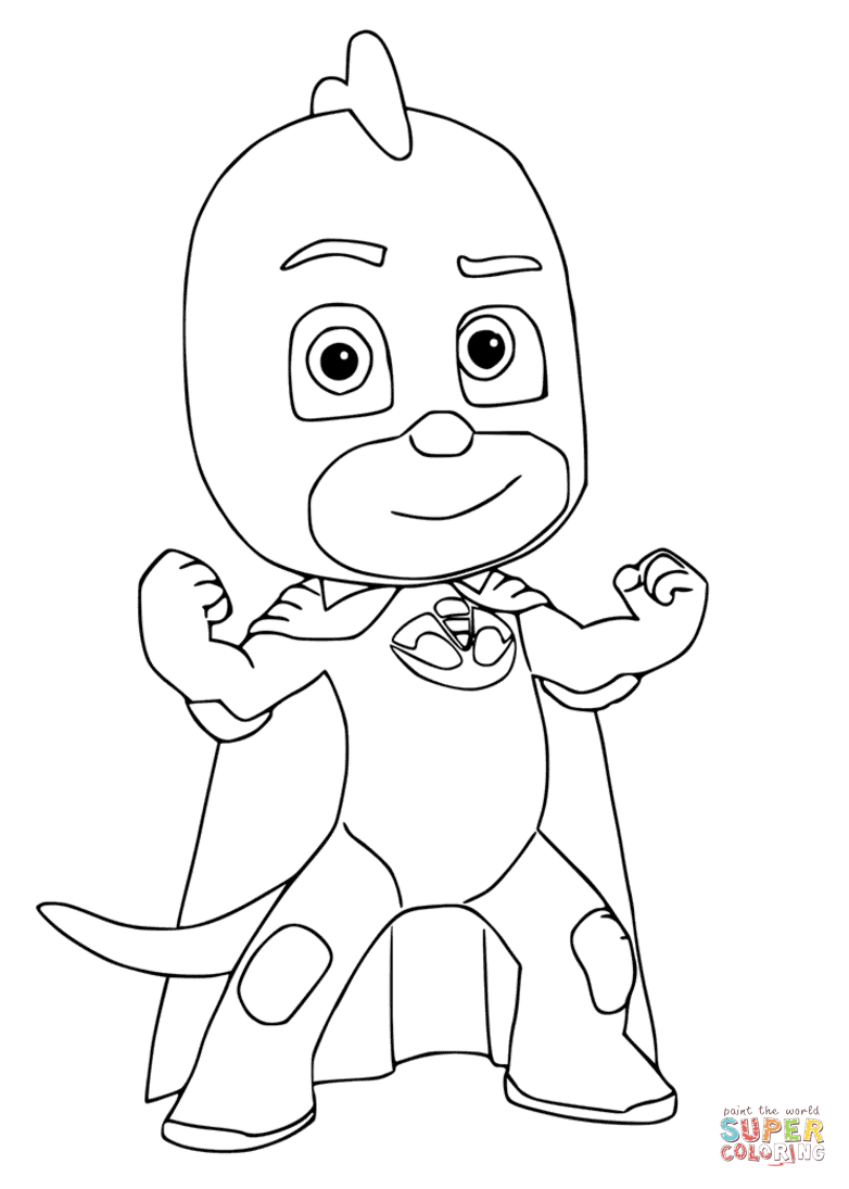 Pj Masks Black And White : masks, black, white, Gekko, Masks, Coloring, Printable, Pages