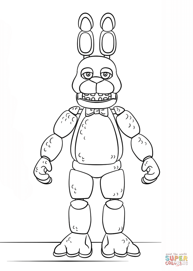 Fnaf Coloring Pages Withered Bonnie : coloring, pages, withered, bonnie, Bonnie, Coloring, Printable, Pages