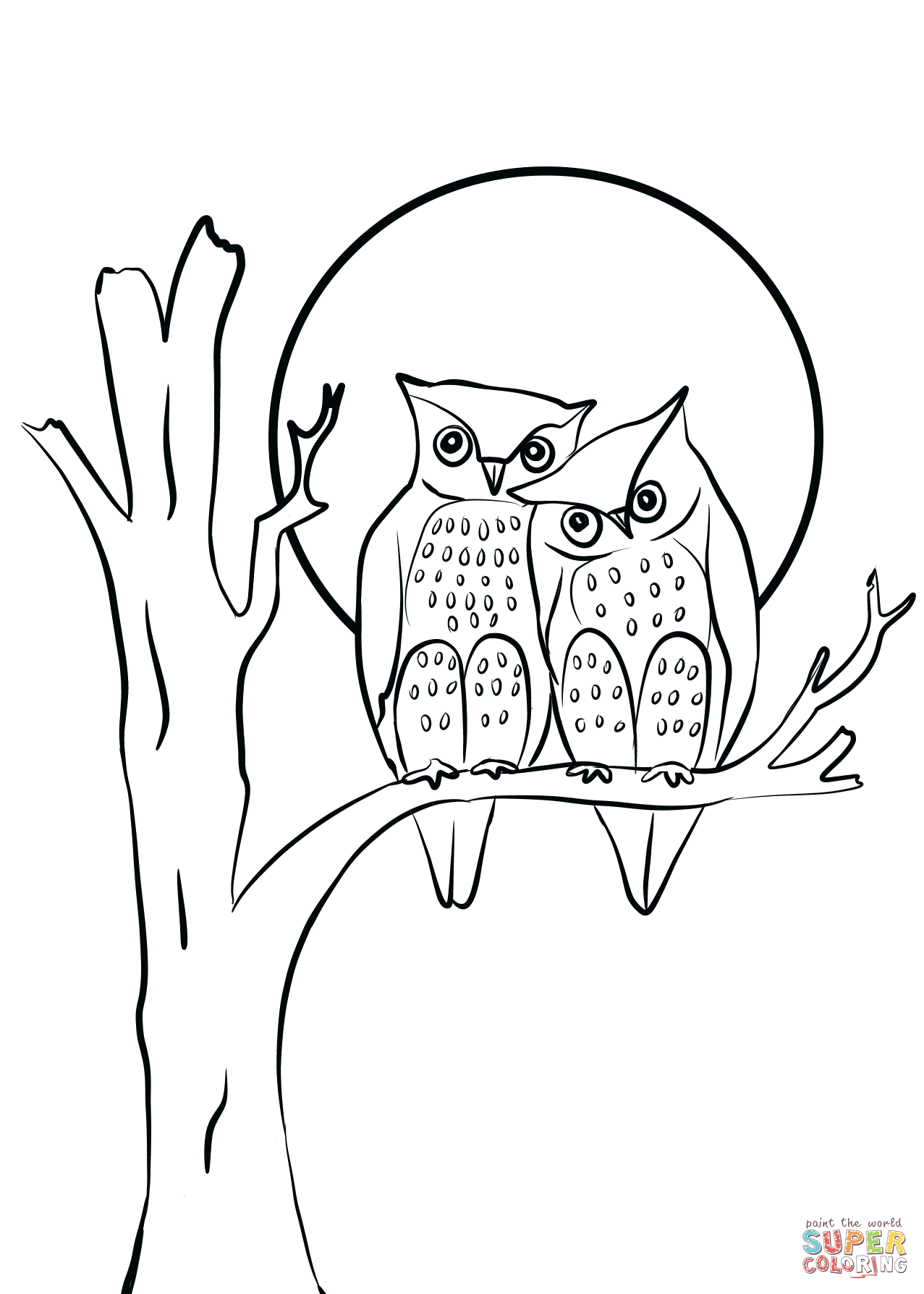 owls couple in love coloring page