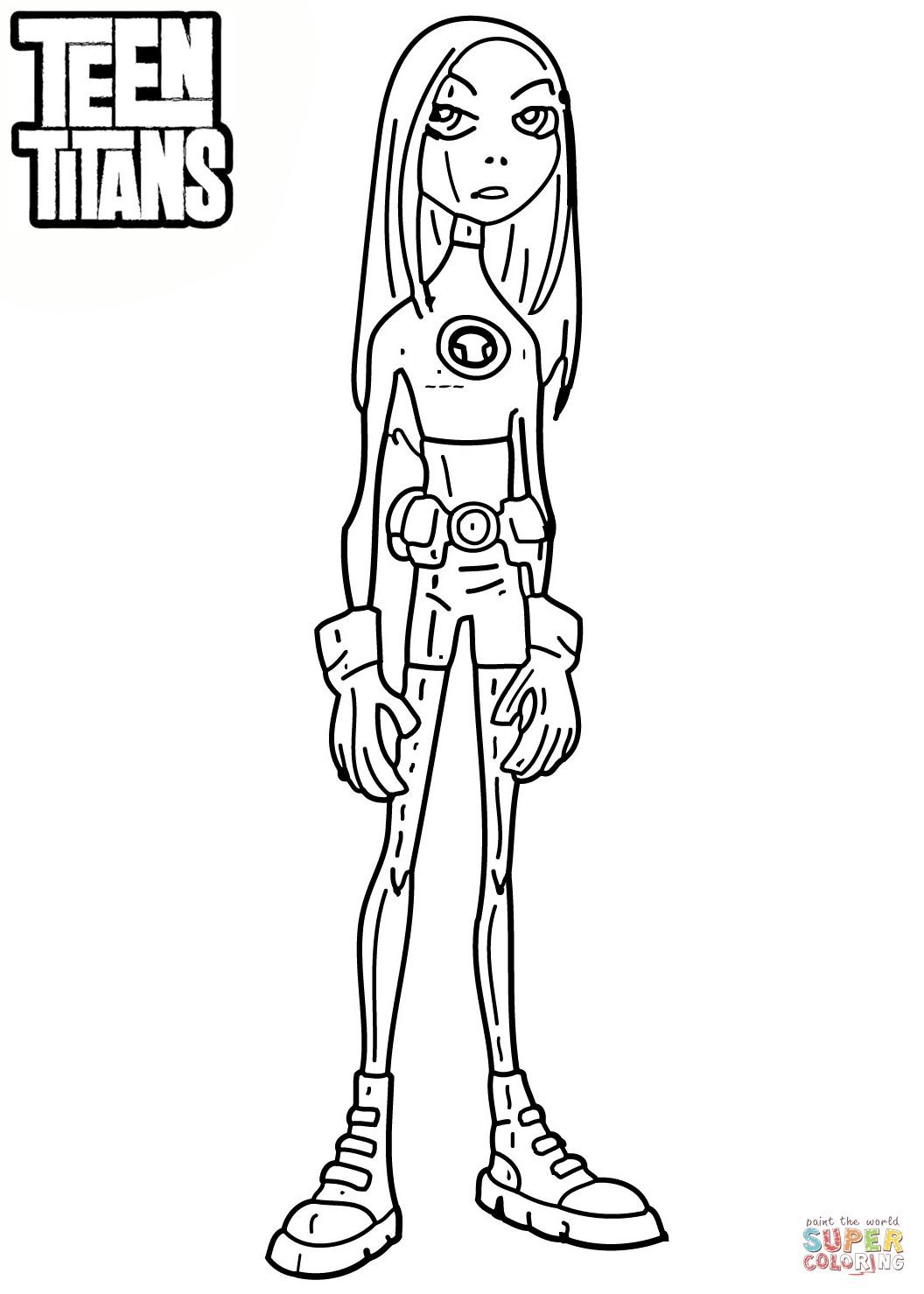 Teen Titan Coloring : titan, coloring, Titans, Terra, Coloring, Printable, Pages