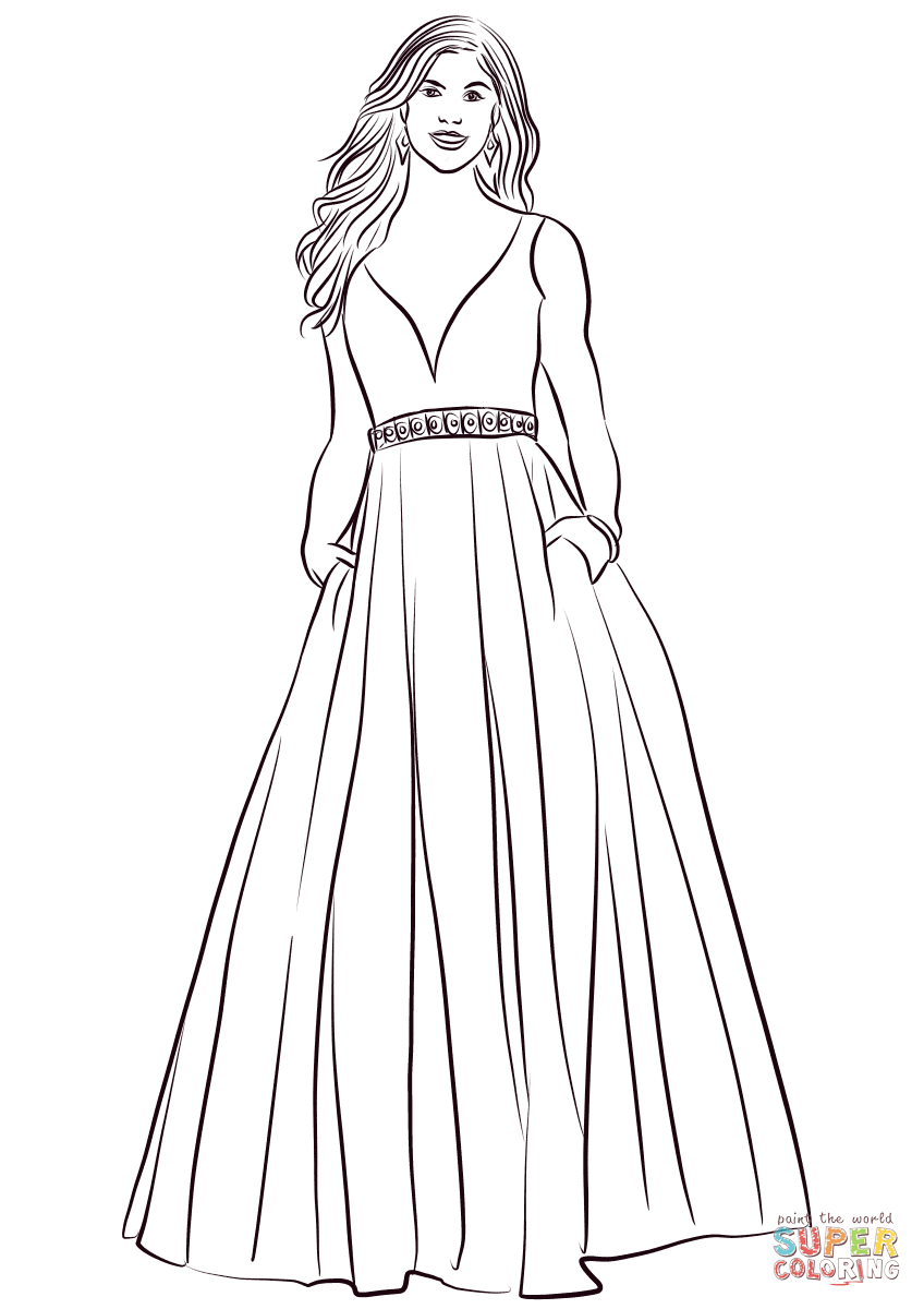 Coloring Pages Dresses : coloring, pages, dresses, Coloring, Printable, Pages