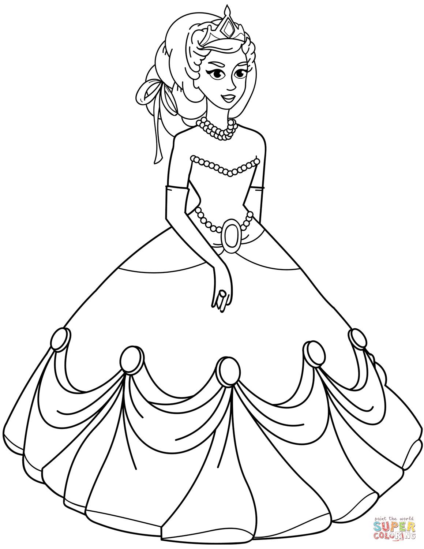 Princess Dress Coloring Page : princess, dress, coloring, Princess, Dress, Coloring, Printable, Pages