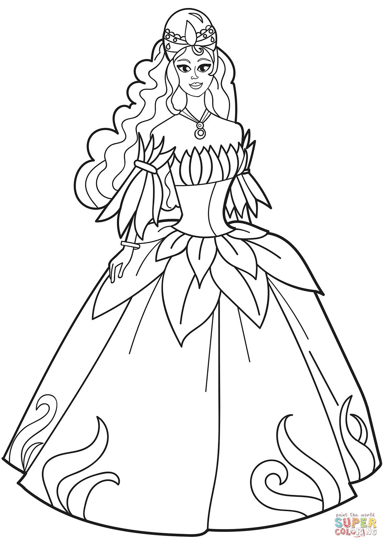 Princess Dress Coloring Page : princess, dress, coloring, Princess, Flower, Dress, Coloring, Printable, Pages