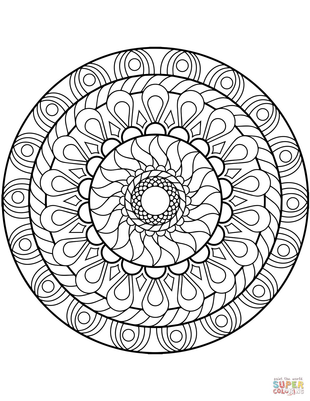 Flower Coloring Page Sunflower Mandala