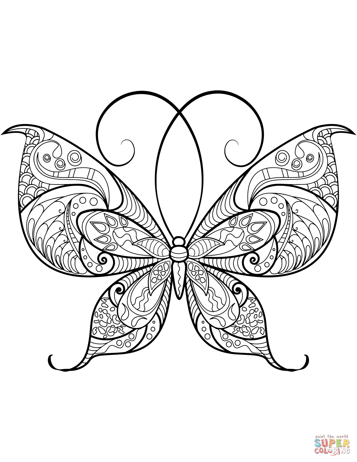 Zentangle Butterfly Coloring Page Free Printable