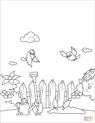 Birds Fly over the Garden coloring page Free Printable Coloring Pages