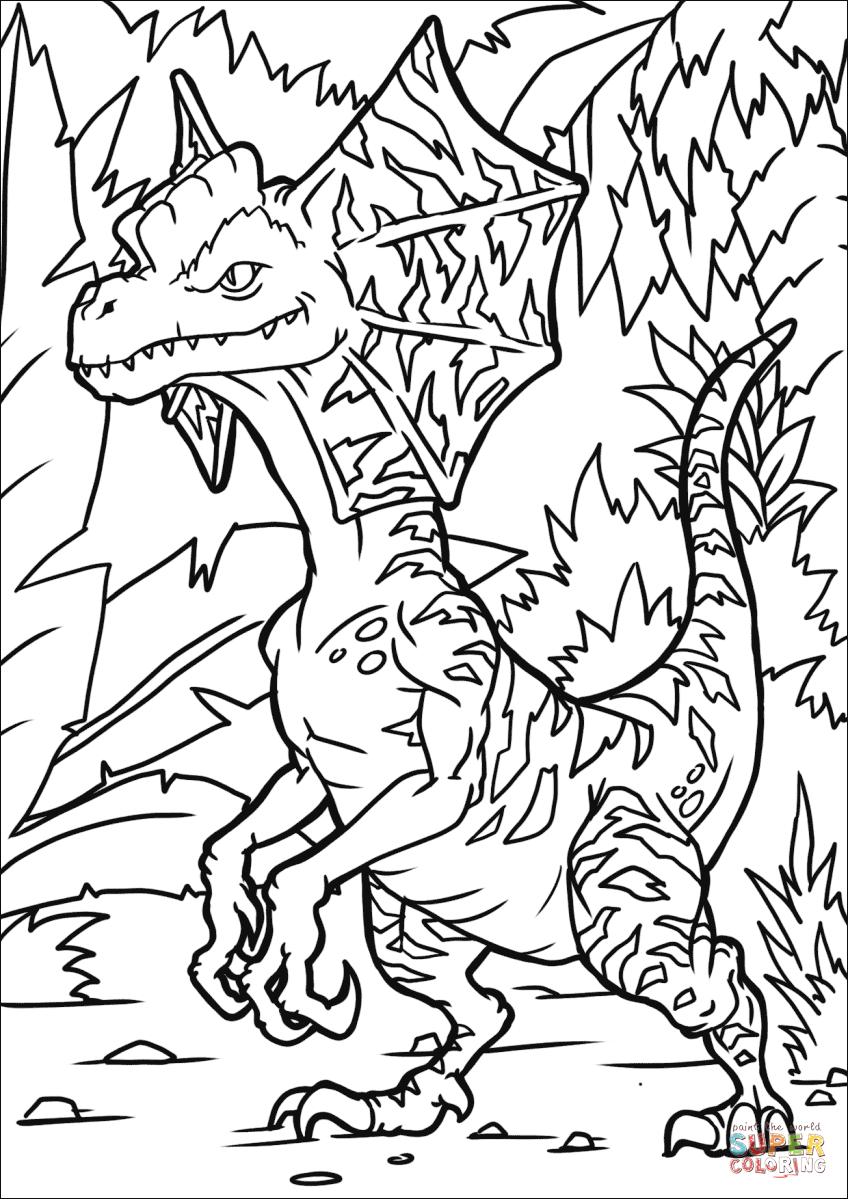 Dilophosaurus Coloring Page : dilophosaurus, coloring, Dilophosaurus, Coloring, Printable, Pages