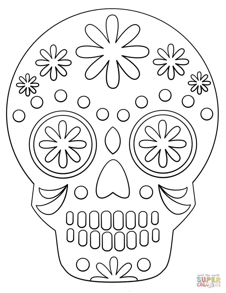 Day Of The Dead Skull Drawing Easy : skull, drawing, Simple, Sugar, Skull, Coloring, Printable, Pages