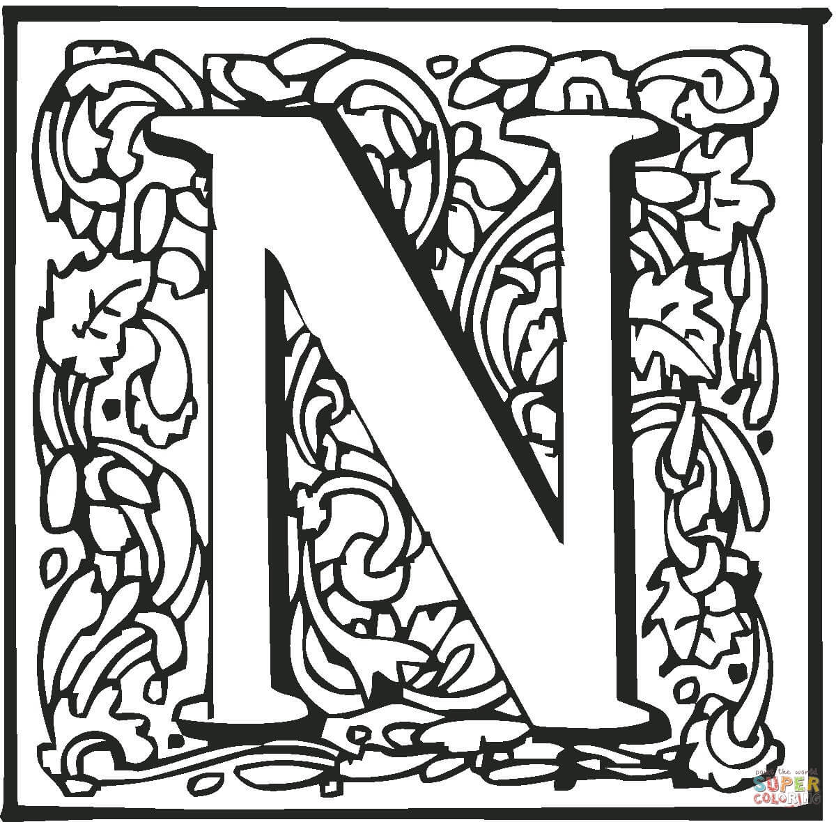 Letter n with ornament coloring page free printable