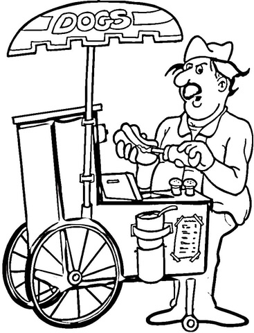 Hotdog Coloring Pages : hotdog, coloring, pages, Seller, Coloring, Printable, Pages