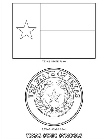 Texas Flag Coloring Page : texas, coloring, Texas, State, Symbols, Coloring, Printable, Pages