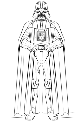 Darth Vader Outline : darth, vader, outline, Darth, Vader, Coloring, Printable, Pages
