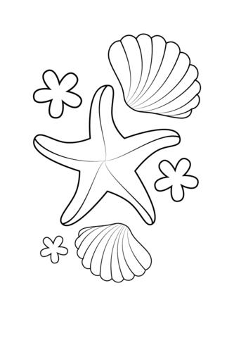 Seashell Coloring Page : seashell, coloring, Starfish, Shells, Coloring, Printable, Pages