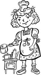 Dibujo de Niña Jugando a los Cocineros en la cocina para colorear Dibujos para colorear imprimir gratis