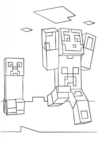 Minecraft Coloring Pages Creeper : minecraft, coloring, pages, creeper, Minecraft, Steve, Creeper, Coloring, Printable, Pages