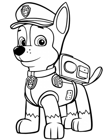 Paw Patrol Chase Coloring Pages : patrol, chase, coloring, pages, Patrol, Chase, Coloring, Printable, Pages