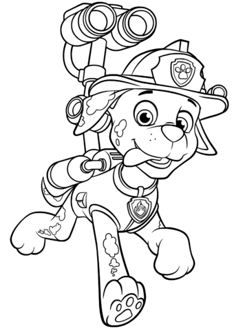 Paw Patrol Coloring Pages Marshall : patrol, coloring, pages, marshall, Patrol, Marshall, Water, Cannon, Coloring, Printable, Pages