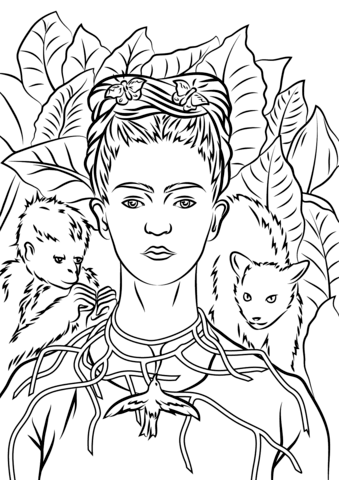 Frida Kahlo Coloring Pages : frida, kahlo, coloring, pages, Portrait, Necklace, Thorns, Frida, Kahlo, Coloring, Printable, Pages
