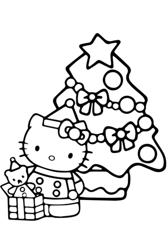 Hello Kitty Christmas Coloring Pages : hello, kitty, christmas, coloring, pages, Hello, Kitty, Christmas, Coloring, Printable, Pages