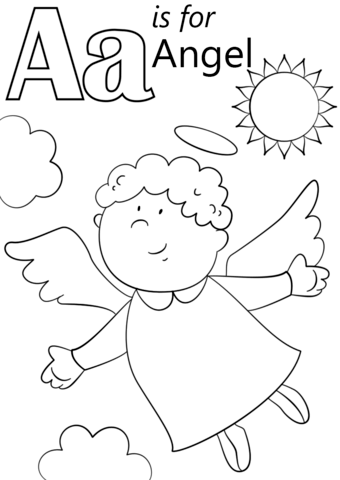Angel Coloring Pages For Preschool : angel, coloring, pages, preschool, Letter, Angel, Coloring, Printable, Pages