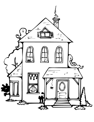 Haunted House Coloring Page : haunted, house, coloring, Haunted, House, Coloring, Printable, Pages