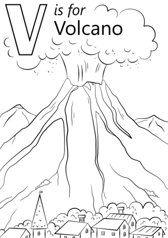 Volcano Coloring Sheet : volcano, coloring, sheet, Volcano, Coloring, Printable, Pages