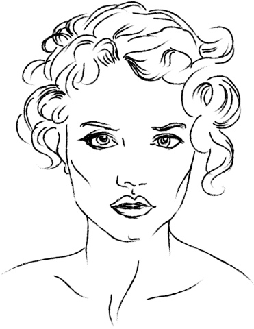 Coloring Face : coloring, Woman's, Coloring, Printable, Pages