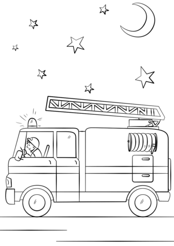 Fire Engine Coloring Pages : engine, coloring, pages, Truck, Action, Coloring, Printable, Pages