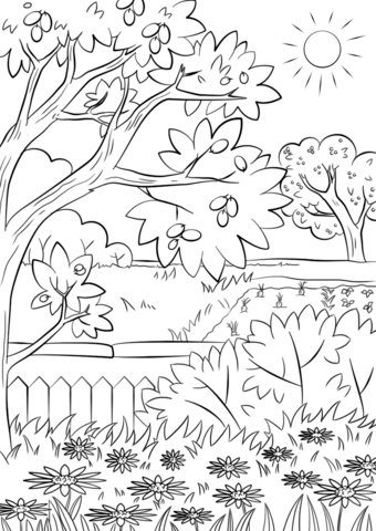 Printable Garden Coloring Pages : printable, garden, coloring, pages, Summer, Garden, Coloring, Printable, Pages