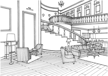 Classic Decor Large Living Room with Stairs coloring page Free Printable Coloring Pages