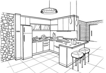 Dibujo de Cocina en estilo minimalista para colorear Dibujos para colorear imprimir gratis