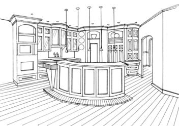 Dibujo de Cocina con barra de contador para colorear Dibujos para colorear imprimir gratis
